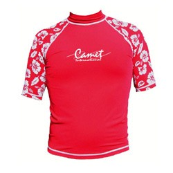 Short Sleeve Rashguard Hawaiian Red